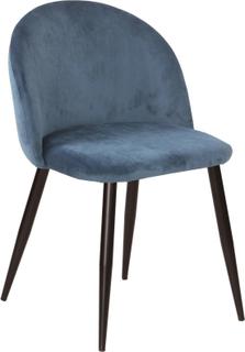 Alice sammet stol i Blå med svarta ben