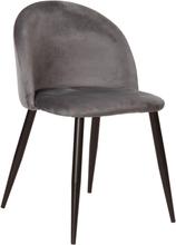 Alice sammet stol i Grå med svarta ben (leverans från v 38)