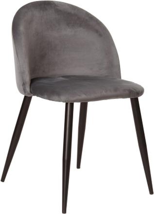 Alice sammet stol i Grå med svarta ben (Leverans från V 49)