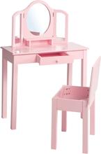 roba Sminkbord för barn med pall rosa 68x32x106 cm trä