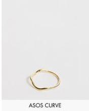 ASOS DESIGN Curve – Guldpläterad ring med vågig form i äkta silver