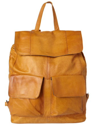PIECES Leather Backpack Women Brown