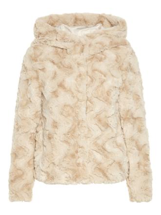 VERO MODA Short Faux Fur Jacket Women Grey