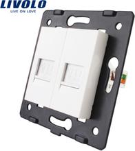Manufacture Livolo,The Base Of Socket /Outlet /Plug For DIY Product, 2 Gangs Computer Socket RJ45 ,VL-C7-2C-11
