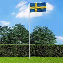 vidaXL Sveriges flagga och flaggstång i aluminium 6 m