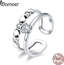 BAMOER 925 Sterling Silver Elegant Heart to Heart Clear Cubic Zircon Open Size Rings for Women Sterling Silver Jewelry SCR429