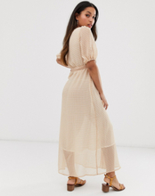 Only Petite sheer check button through maxi dress-White