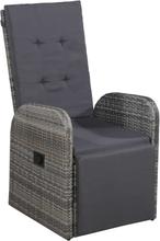 vidaXL Ställbar trädgårdsstol med dyna konstrotting grå