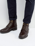 ASOS Work Boots In Brown Faux Leather - Brown