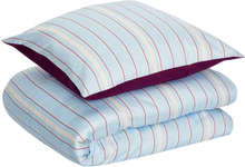 Hübsch sengetøj bomuldssatin - blå/bordeaux/hvid - 140x200 cm