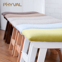 Wood Pouf Nordic Stool Simple Ottoman for Living room Kids Furniture Fabric Footstool