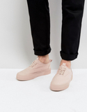 ASOS Lace Up Plimsolls In Pink Canvas With Chunky