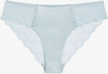 Satin and lace briefs - Turquoise