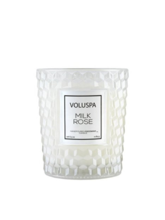 Voluspa Boxed Textured Glass Candle Milk Rose