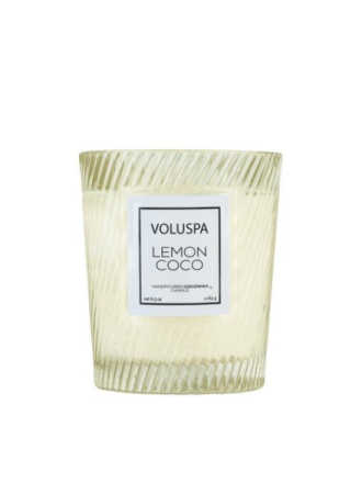 Voluspa Boxed Textured Glass Candle Lemon Coco