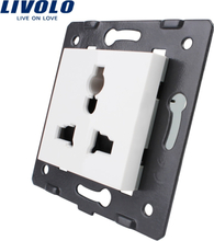 Livolo EU standard, White Color, Multifunction Socket, 3 Pins, Function Key For Wall Socket, VL-C7-C1C-11/12