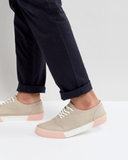 ASOS Lace Up Plimsolls In Stone With Contrast Sole