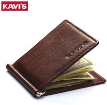 KAVIS Slim Brand Men Women Genuine Leather Bifold Male Purse Billfold Wallet Money Clip Female Clamp for Money Case
