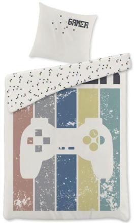 Gamer sengetøj - 140x200 cm - 100% økologisk bomuld - My room - Home-tex