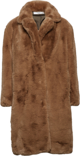 Over Faux-Fur Coat Uldfrakke Frakke Brun MANGO