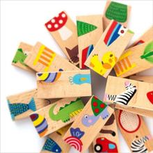 Montessori Wooden Domino Blocks 28pcs Early Education Blocks Kids Toys For Children Brinquedos Oyuncak Brinquedo Juguetes 49