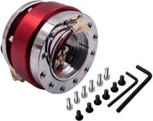 Aluminum Red 6 holes Adapter Quick Release Snap Off Steering Wheel Hub Boss Kit