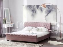 Beliani Dubbelsäng 160 x 200 cm sammet rosa AVALLON