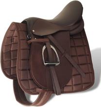 """vidaXL Hästsadel set 17,5"""" brunt riktigt läder 12 cm 5-i-1"""