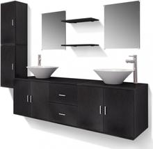 Baderomsmøbler Sett i 11 Deler med Vask og Kran - Sort