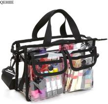 Fashion Transparent EVA Bags Large Capacity Ladies Tote Bag Women Thicken Handbag Beach Shopper Makeup Organizer Shoulder Bag