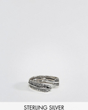 ASOS Sterling Silver Ring With Wrap Around Feather