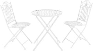 Bistro sæt - rundt bord med 2 stole - hvid