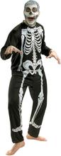 Dräkt, skelett vuxen Halloween