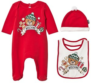 Moschino Kid-Teen Red Christmas Bear Print Footed Baby Body Hat and Bib Gift Box 1-3 months