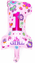 BasicsHome Folie Figur Ballon 1st Birthday Girl 1 stk