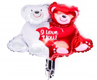 BasicsHome Folie Figur Ballon I Love You Bamser 1 stk