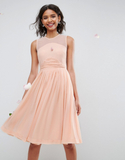 ASOS WEDDING Midi Dress With Ruched Panel Detail -