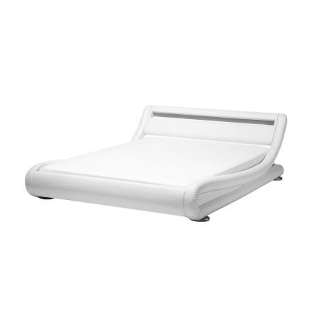 Valkoinen keinonahkainen sänky LED-valoilla 140x200 cm AVIGNON