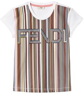 Fendi White Multi Stripe Fendi Tee 3 years