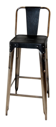 Toxil barstol - Metall/svart läder