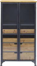 KARE DESIGN Refugio vinskab - stål/klart glas/natur træ, m. 2 glaslåger og 4 træhylder (119x60)
