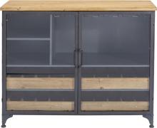 KARE DESIGN Refugio vinskab - stål/klart glas/natur træ, m. 2 glaslåger og 4 skuffer (82x100)