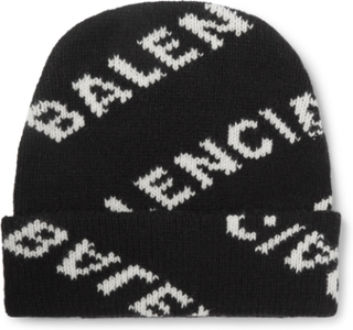 Logo-jacquard Virgin Wool And Camel Hair-blend Beanie - Black