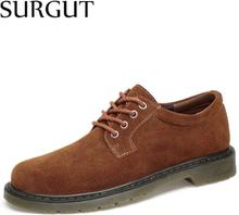 SURGUT 2020 Hot Fashion Men Casual Shoes New Breathable Men Flats Lace Up Male Suede Oxfords Men Leather Shoes Plus size 38~47