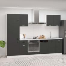 vidaXL Kjøkkenskapsett 7 deler grå sponplate