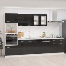 vidaXL Kjøkkenskapsett 7 deler høyglans svart sponplate