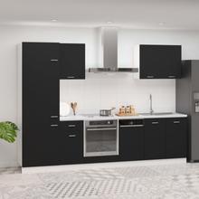 vidaXL Kjøkkenskapsett 7 deler svart sponplate
