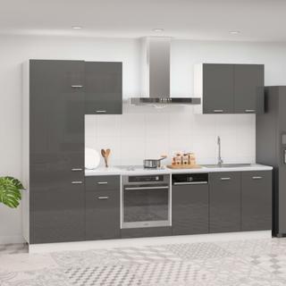 vidaXL Kjøkkenskapsett 7 deler høyglans grå sponplate