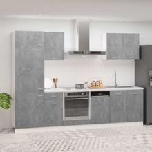 vidaXL Kjøkkenskapsett 7 deler betonggrå sponplate