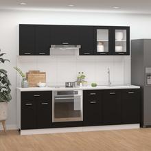 vidaXL Kjøkkenskapsett 8 deler svart sponplate